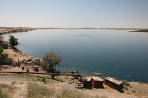 Euphrates River and water diversion pumps above Ar Raqqah
