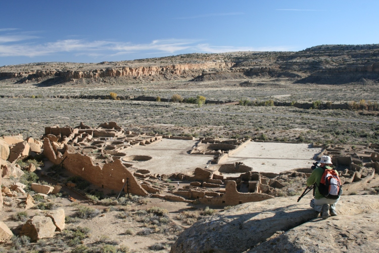 Pueblo Bonito Ruins, Chaco Canyon, New Mexico (with author setting up to film)