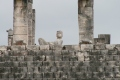 Toltec architecture and Chac Mol sacraficial alter statue from Chichen Itza